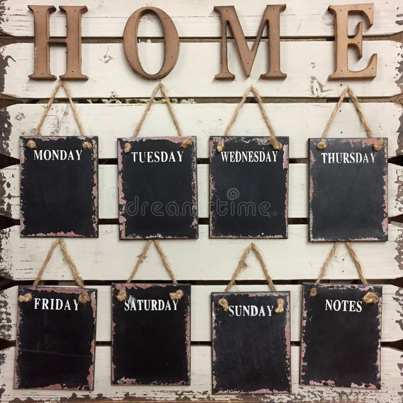 Giorno della lavagna della parete di settimana fotografie stock