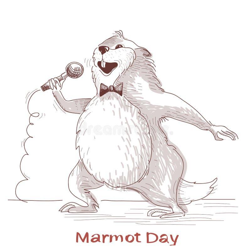 Giorno della marmotta felice con il cantante della marmotta illustrazione vettoriale