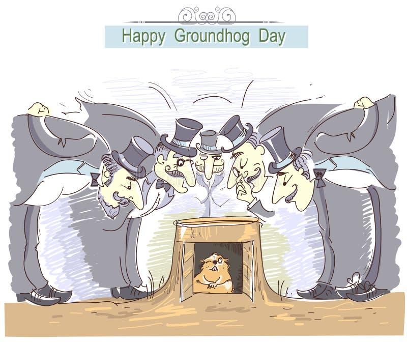 Giorno della marmotta felice con il gruppo di uomini nei cappelli e in marmo del cilindro illustrazione vettoriale