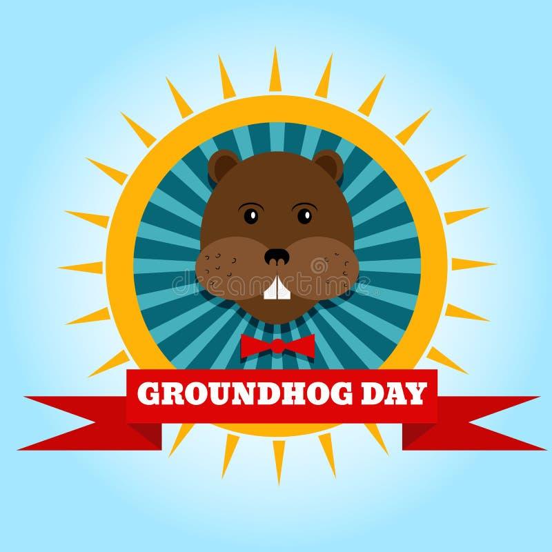 Giorno della marmotta felice Fondo dell'etichetta di vettore per testo ENV 10 illustrazione vettoriale