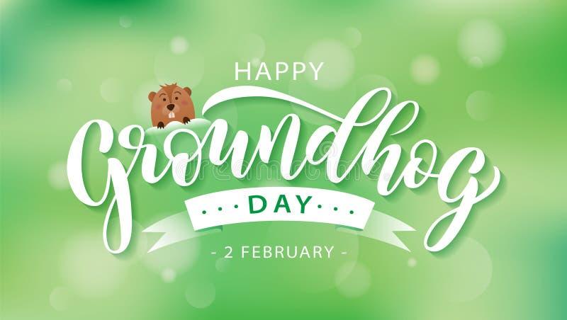 Giorno della marmotta felice Testo d'iscrizione disegnato a mano con la marmotta sveglia 2 febbraio Illustrazione di vettore illustrazione vettoriale
