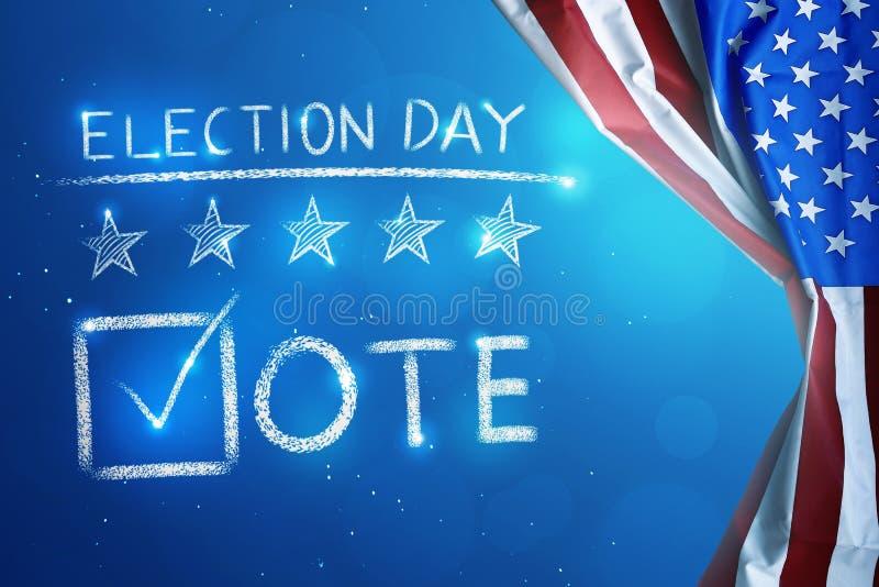 Giorno delle elezioni con il segno della lista di controllo di forma di v per votare immagini stock libere da diritti