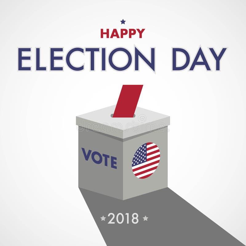 Giorno delle elezioni felice Il voto U.S.A., lo fa contare illustrazione di stock