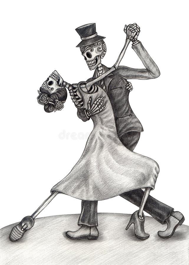 Giorno delle nozze di arte del cranio dei morti illustrazione vettoriale