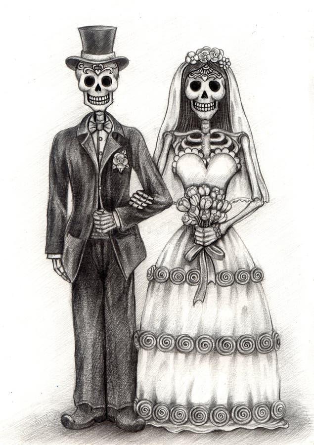 Giorno delle nozze di arte del cranio dei morti Disegno della mano sul documento illustrazione di stock