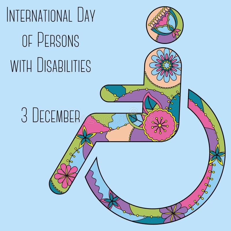 Giorno delle persone con il fondo di inabilità illustrazione vettoriale