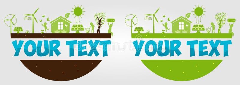 Giorno di ambiente di mondo ecologia creativo Idee ecologiche di concetto Energia alternativa del sole Potenza di Eco Turbine di  illustrazione vettoriale