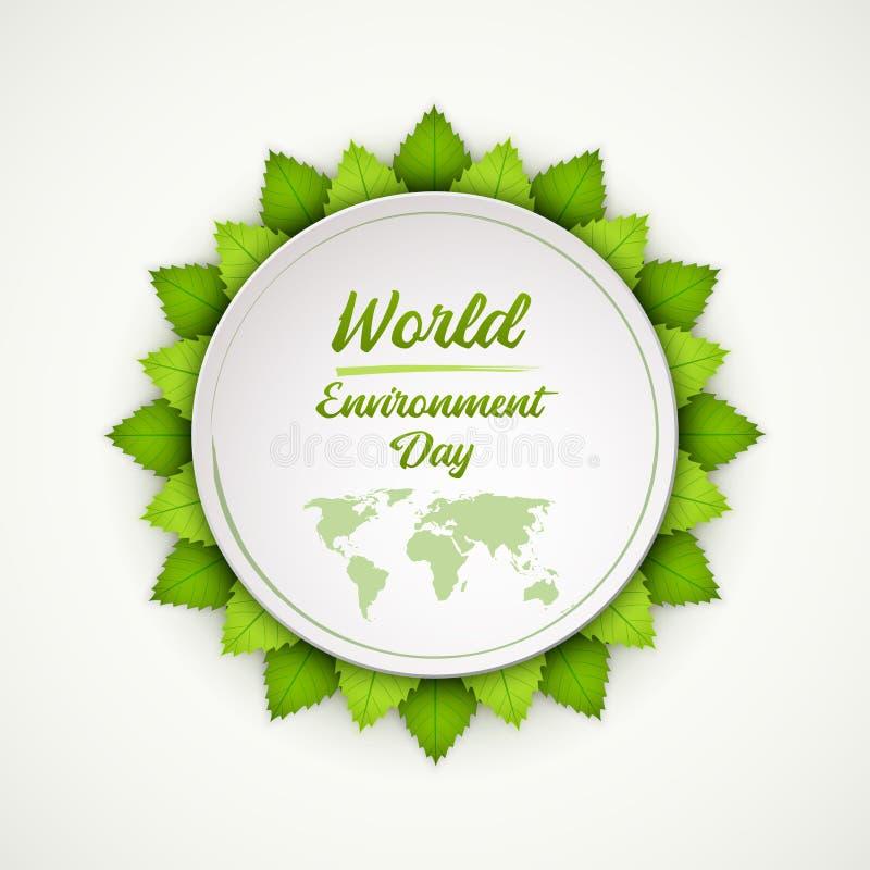 Giorno di ambiente di mondo Fogli freschi luminosi di verde Illustrazione EPS10 di vettore royalty illustrazione gratis