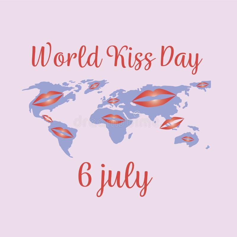 Giorno di bacio del mondo festa 6 luglio, concetto Vettore royalty illustrazione gratis