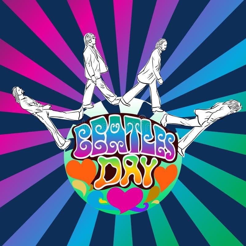 Giorno di Beatles, illustrazione psichedelica di vettore di stile royalty illustrazione gratis