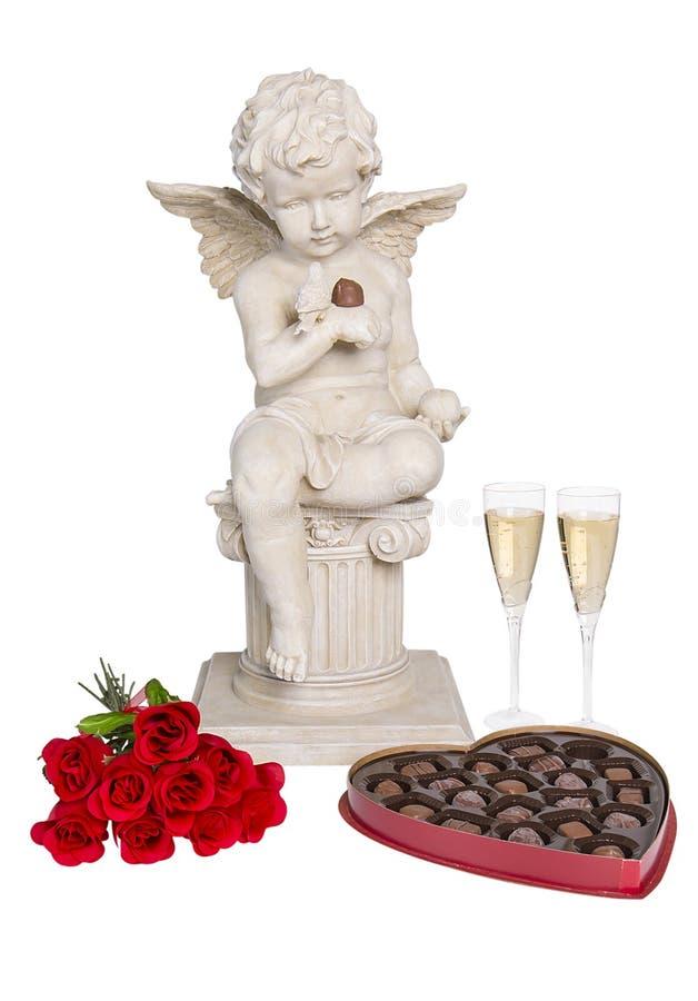 Giorno di biglietti di S. Valentino - cioccolato, fiori & Champagne fotografia stock libera da diritti