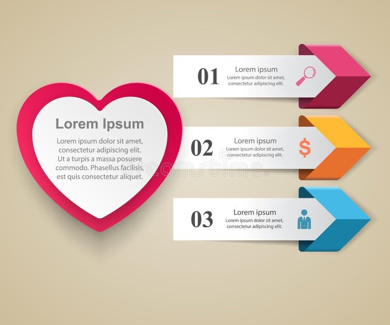 Giorno di biglietti di S. Valentino dei cuori del Libro rosso e Bianco 3D illustrazione digitale astratta Infographic illustrazione vettoriale