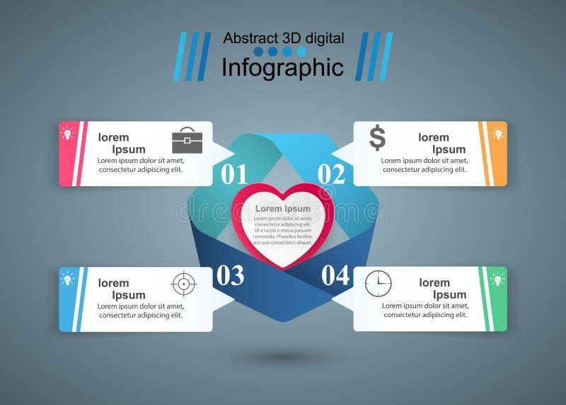 Giorno di biglietti di S. Valentino di carta astratto dei cuori 3D astratto digitale illustrazione vettoriale