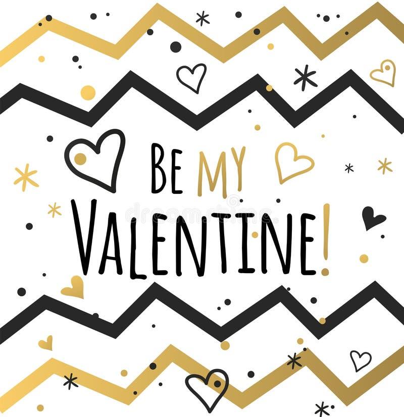 Giorno di biglietti di S. Valentino e progettazione di carte felici di sarchiatura illustrazione vettoriale