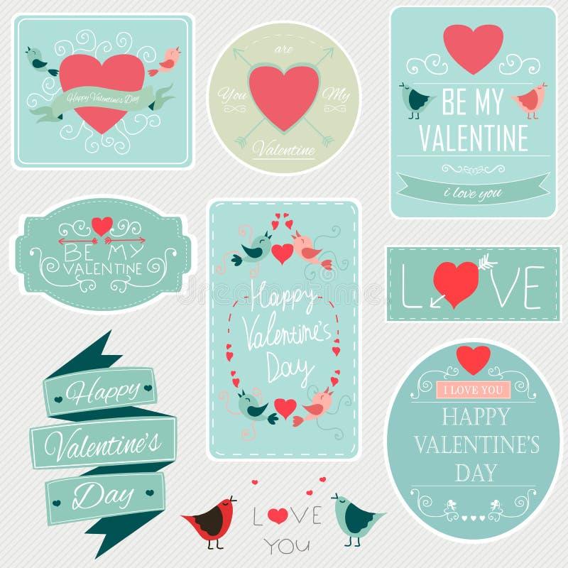Giorno di biglietti di S. Valentino fissato - etichette, emblemi ed altri elementi decorativi Vettore illustrazione di stock