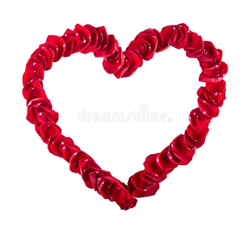 Giorno di biglietti di S. Valentino, giorno delle nozze Bello cuore dei petali di rosa rossa isolati su bianco Confine del cuore  immagine stock