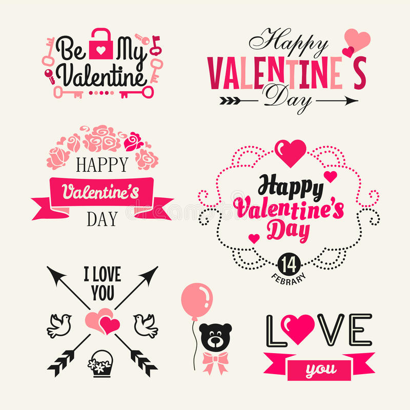 Giorno di biglietti di S. Valentino - insieme di tipografia illustrazione di stock
