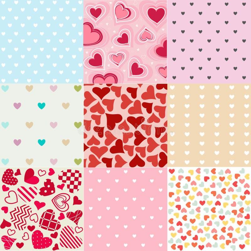 Giorno di biglietti di S. Valentino senza cuciture dei modelli illustrazione di stock