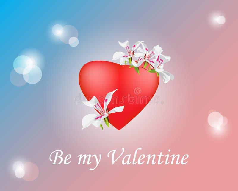 Giorno di biglietti di S. Valentino decorativo del fondo, misto con i punti culminanti, bok illustrazione di stock
