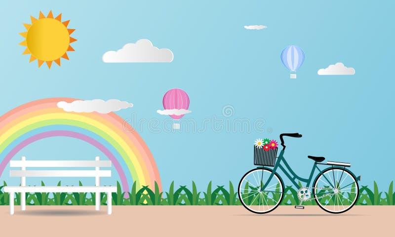 Giorno di biglietti di S. Valentino della carta di amore su fondo blu molle con l'arcobaleno ed il cuore del pallone della bicicl illustrazione di stock