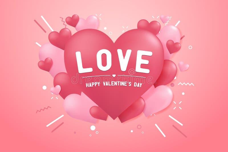 Giorno di biglietti di S. Valentino felice con forma del pallone del cuore illustrazione di stock