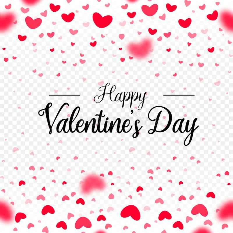 Giorno di biglietti di S. Valentino felice, cuori rossi che cadono, modello della carta di vettore del confine della carta su fon royalty illustrazione gratis