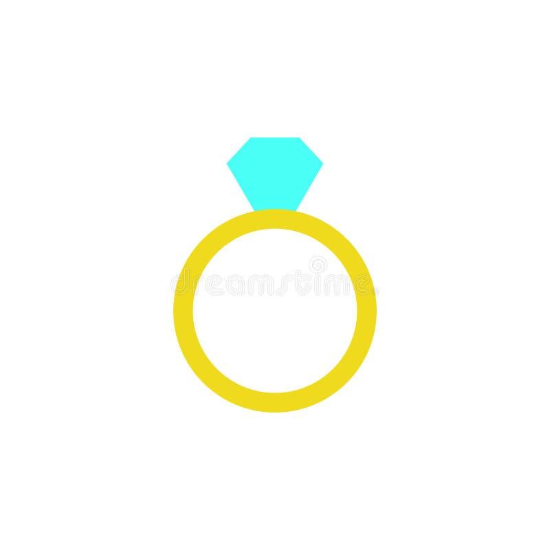 Giorno di biglietti di S. Valentino, icona dell'anello di diamante Elemento dell'icona di giorno di S. Valentino di web per i app illustrazione vettoriale