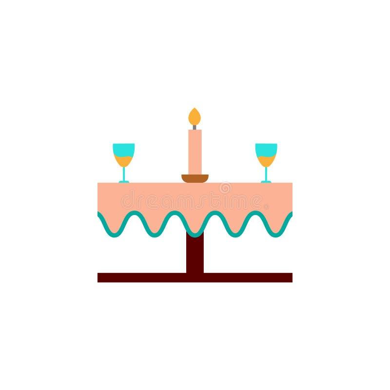Giorno di biglietti di S. Valentino, icona della tavola di cena Elemento dell'icona di giorno di S. Valentino di web per i apps m royalty illustrazione gratis