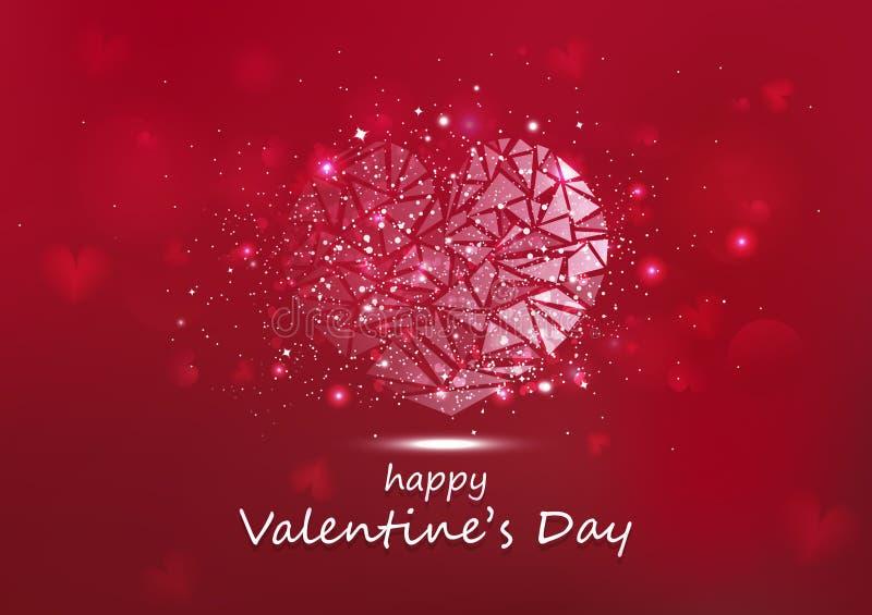 Giorno di biglietti di S. Valentino, illustrazione stagionale d'ardore di vettore di festa di scintillio delle stelle del poligon illustrazione di stock