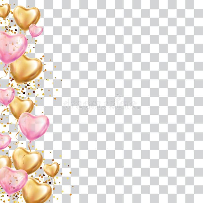 Giorno di biglietti di S. Valentino rosa del pallone del cuore dell'oro royalty illustrazione gratis