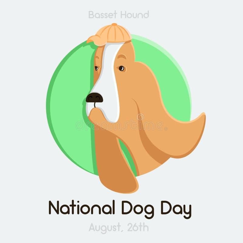 Giorno di cane nazionale, il 26 agosto, Basset Hound, Logotype, emblema, cane nel cerchio immagini stock