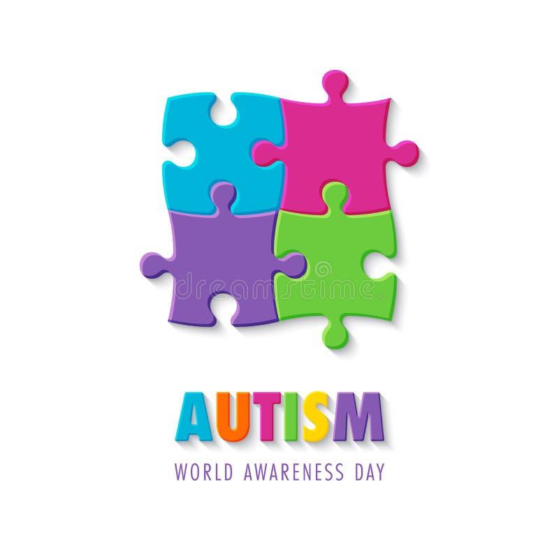 Giorno di consapevolezza di autismo illustrazione vettoriale