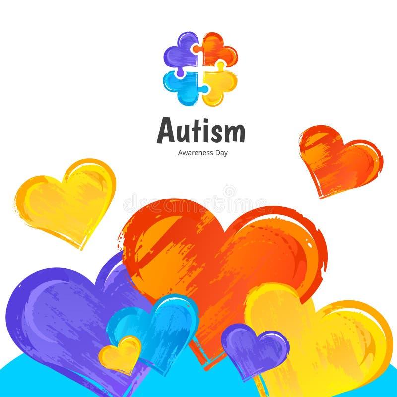 Giorno di consapevolezza di autismo Impronta digitale royalty illustrazione gratis