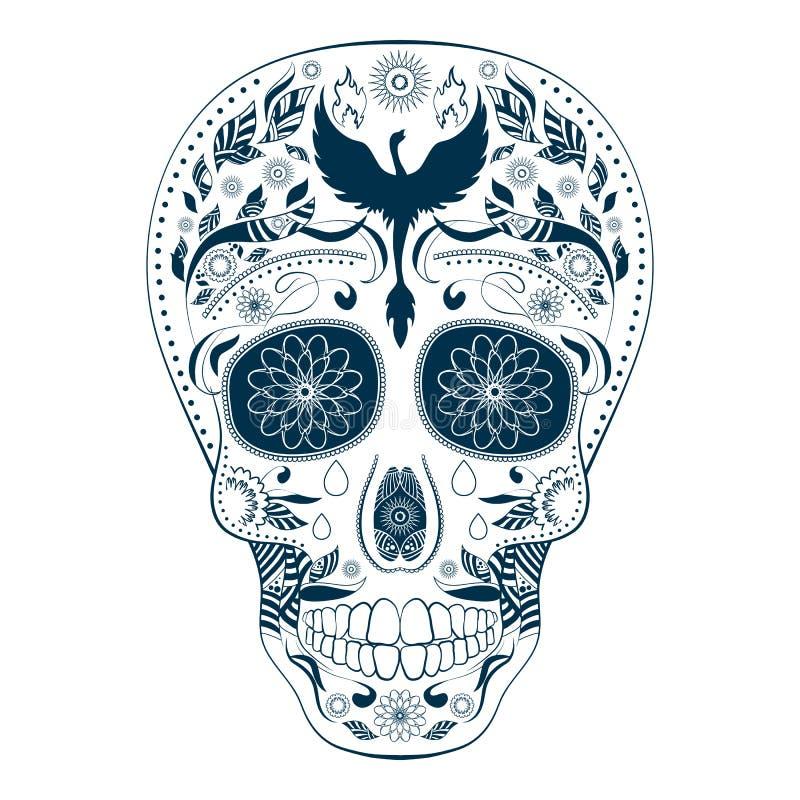 Giorno di Dia de Muertos Tattoo Skull Ornate dei morti royalty illustrazione gratis