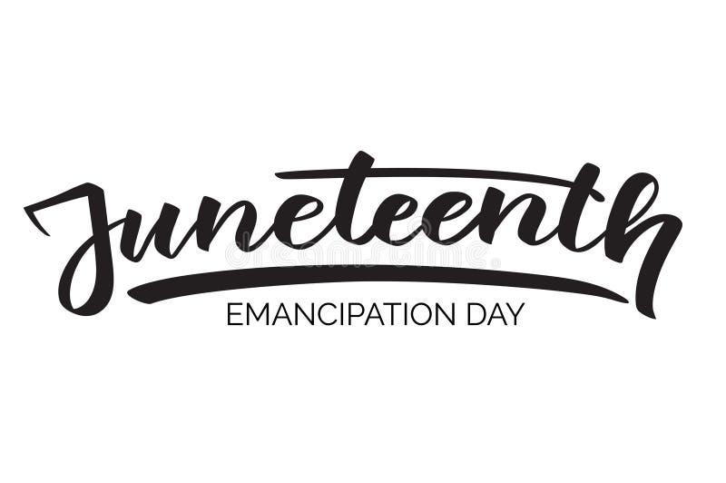 Giorno di emancipazione di Juneteenth, testo scritto a mano, fotografia stock libera da diritti