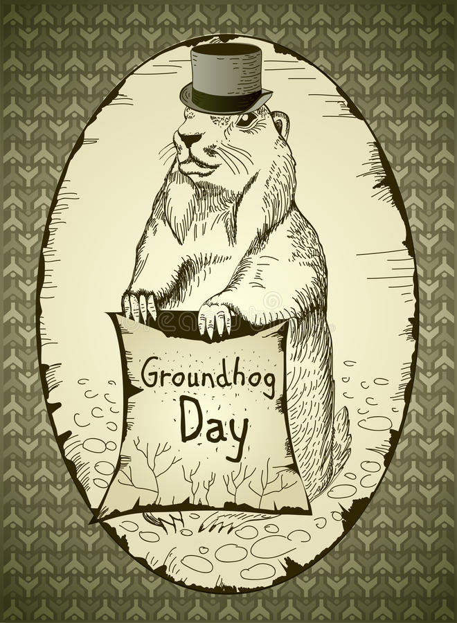 Giorno di Groundhog illustrazione di stock
