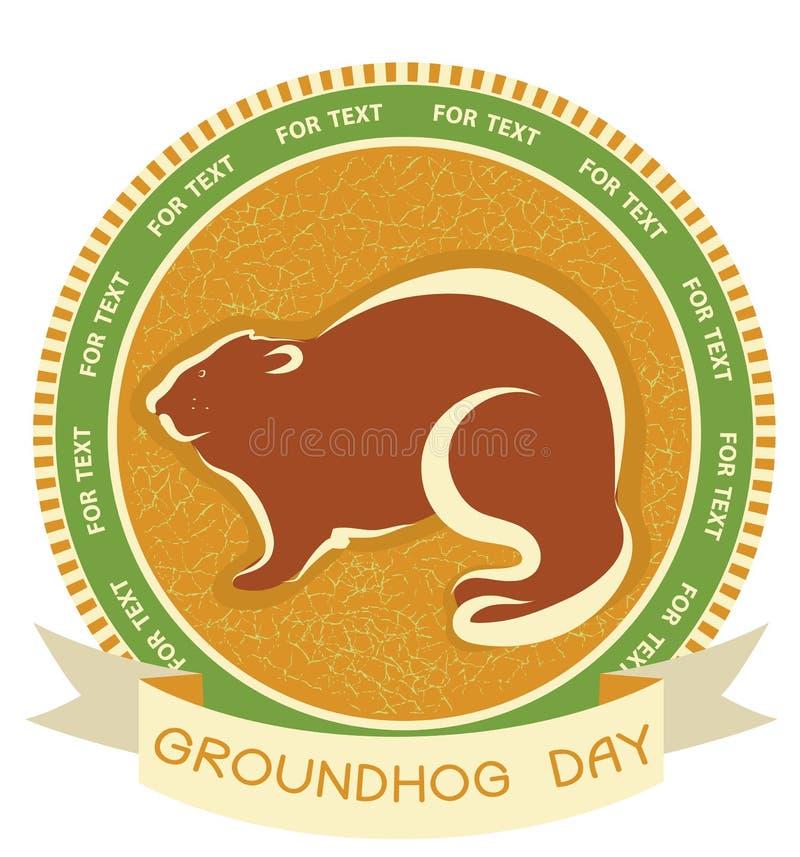 Giorno di Groundhog. Contrassegno di vettore illustrazione vettoriale