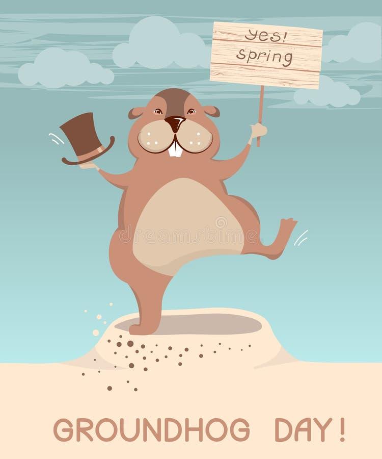 Giorno di Groundhog Illustrazione dei fumetti della marmotta di vettore royalty illustrazione gratis