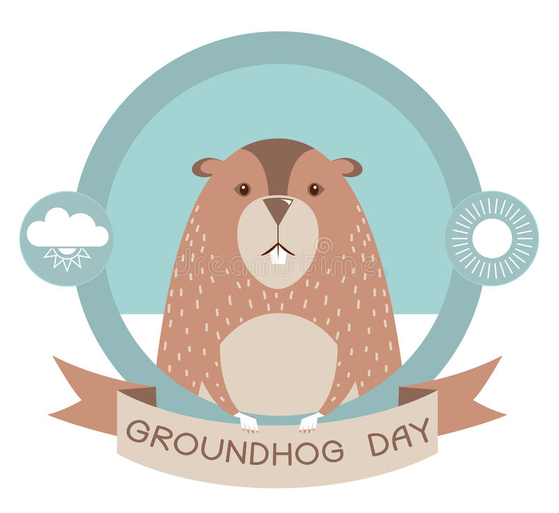 Giorno di Groundhog Marmotta nell'etichetta di vettore su bianco royalty illustrazione gratis