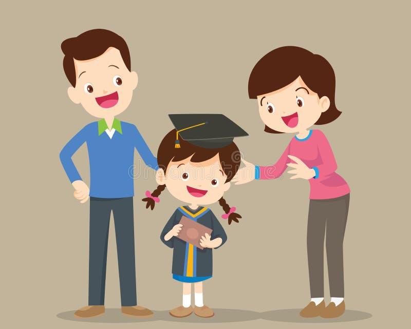 Giorno di laurea felice della famiglia illustrazione vettoriale