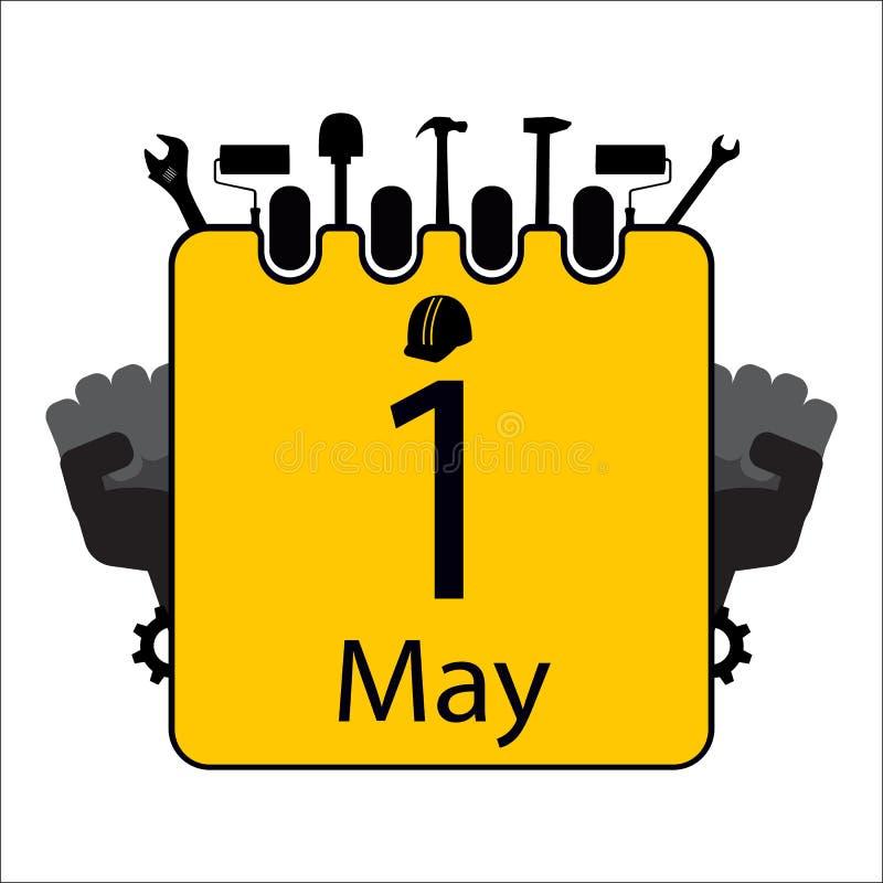 Giorno di lavoro felice con il calendario illustrazione vettoriale