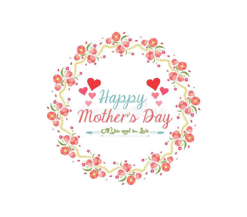 Giorno di madre felice con il fiore della corona illustrazione di stock