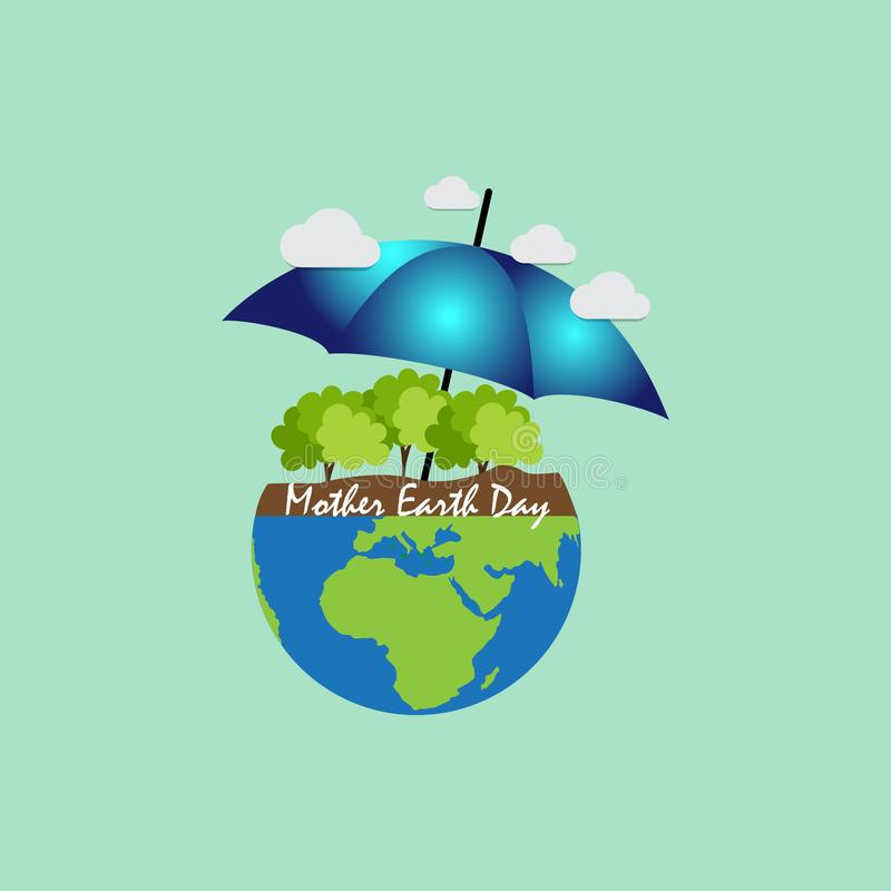 Giorno di madre Terra per terra di risparmio illustrazione di stock