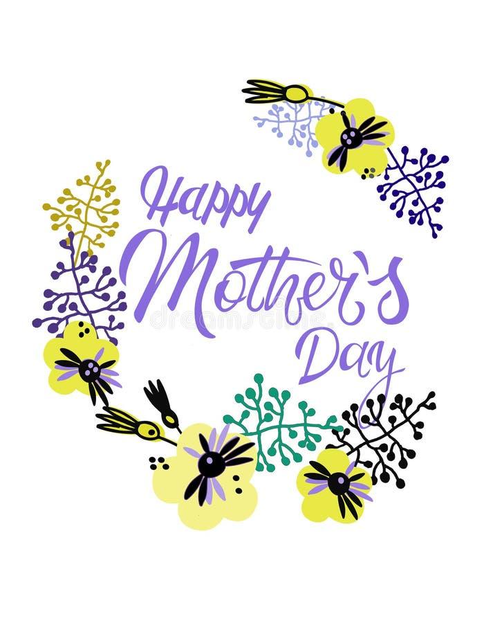 Giorno di madri felice Cartolina d'auguri di festa nello stile scandinavo Iscrizione della mano e decorazione floreale illustrazione vettoriale