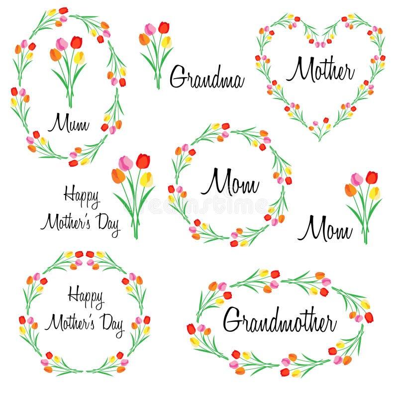 Giorno di madri felice fissato con i tulipani illustrazione vettoriale