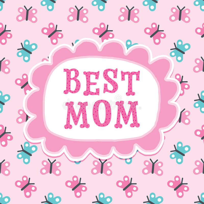 Giorno di madri o migliori farfalle della mamma del biglietto di auguri per il compleanno royalty illustrazione gratis