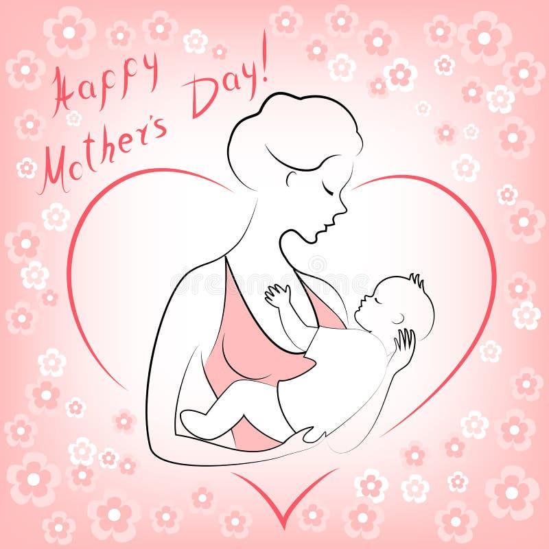 Giorno di madri Una ragazza con un bambino nelle sue armi Giovane e bella donna Maternit? felice Pagina sotto forma di cuore e di illustrazione vettoriale