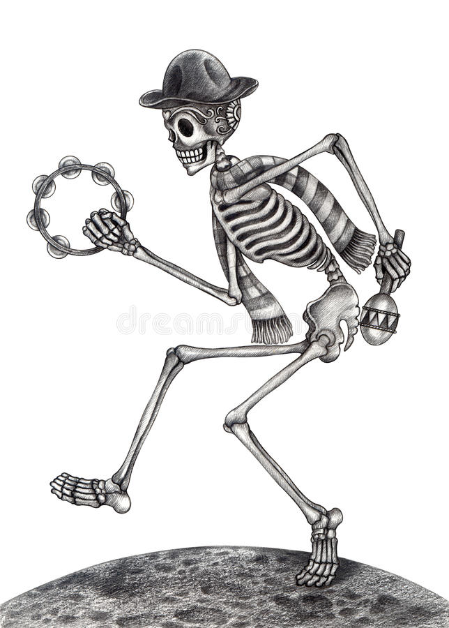 Giorno di musica di dancing di arte del cranio dei morti royalty illustrazione gratis