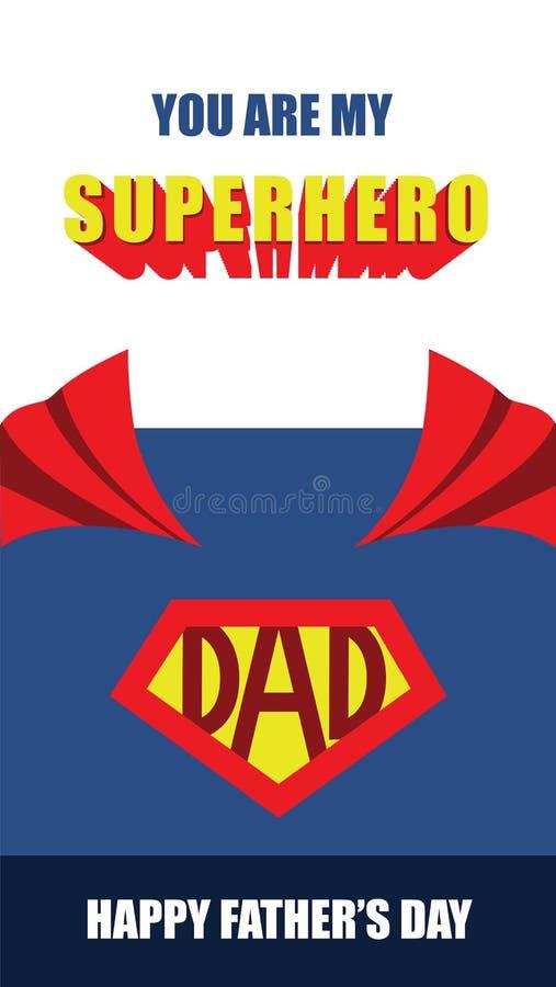 Giorno di padri felice, carta di vettore del papà del supereroe illustrazione di stock