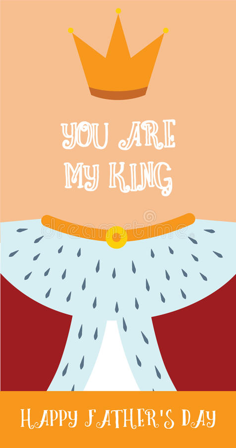 Giorno di padri felice, carta di vettore di re Dad royalty illustrazione gratis